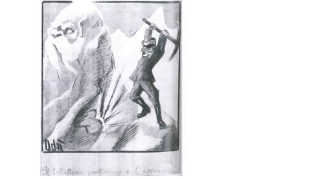 Adriana Bisis Fabbri, Il bollettino quotidiano di Cadorna, 1915, matita, tempera a colori su carta, cm 33,4x27. Roma, Istituto  Nazionale per la Grafica