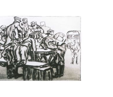 Anselmo Bucci, Partenza, 1915-17. Puntasecca, cm 49x59,3. Rovereto Collezioni museo della Guerra