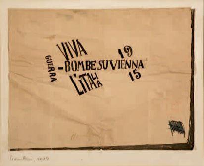 Carlo Carrà, Bombe su Vienna-Bomboni, 1914-1915, inchiostro su carta, 21,2x27,4, Milano, Collezione privata