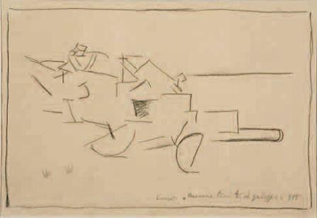 Carlo Carrà, Cannone trainato al galoppo, 1915, matita su carta, 16,3x23, Milano, Collezione privata