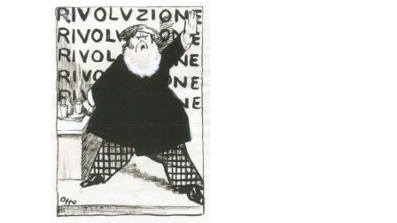 Cipriano, Effisio Oppo, Le due facce della rivoluzione (disegno per L'Idea Nazionale, 23 maggio 1917), inchiostro, carboncino e biacca su carta, cm 36x25,5. Firenze, Collezione Lapicirella
