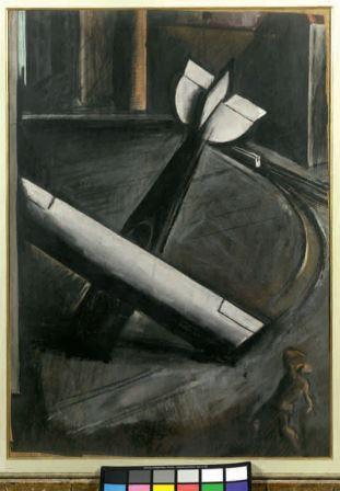 Città+aereo, 1921, tempera su carta, 87x63, Collezione privata