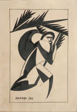 Fortunato Depero, Soldato con foglie, 1916, china su carta, 28x19, Milano, Collezione privata