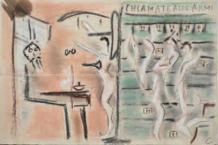 Francesco Cangiullo, Chiamate alle armi, 1915, pastelli su carta, 20x29, Milano, Collezione privata