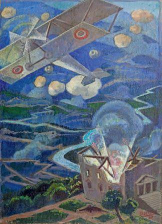 Gerardo Dottori, Bombardamento aereo, 1927, tempera su tavola, 50x37, Milano, Collezione privata