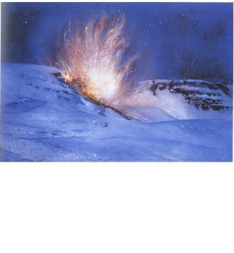 Giulio Aristide Sartorio, Esplosione di una mina, 1918, olio su compensato, cm 64,5x83,5. Gardone Riviera, Fondazione Il Vittoriale degli Italiani
