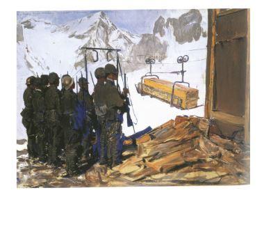 Giulio Aristide Sartorio, Trasporto funebre sull'Adamello, 1918, olio su cartone, cm 60x80, Roma collezione privata