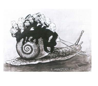 Giuseppe Russo, Personalità politico- militari che guidano una lumaca, 1916, penna, inchiostronero, pennello, acquerello policromo su carta, cm 34,7x48,6. Roma, Istituto Nazionale per la Grafica