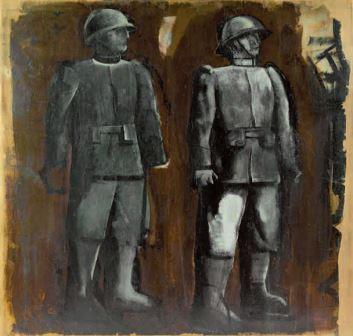 I due soldati, 1936, olio su tela, 180x187, Collezione privata