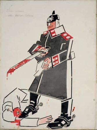 I nuovi volumi della Kultur tedesca, 1915, china e tempera su carta, 63x46. Gli avvenimenti, 11 aprile 1915, Milano, Collezione privata