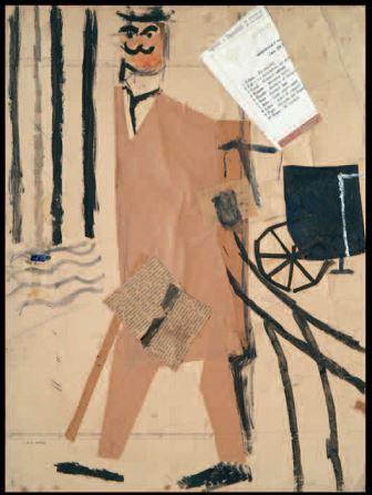 Il borghese, 1916, collage e tempera su carta, 48,5x34,5, Milano, Studio d'Arte Nicoletta Colombo