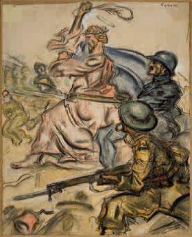 In Palestina il nostro Dio, 1918, tecnica mista su carta intelata, 67x57. Tavola per Il Montello, n. 3, 15 ottobre 1918, Milano, Collezione privata