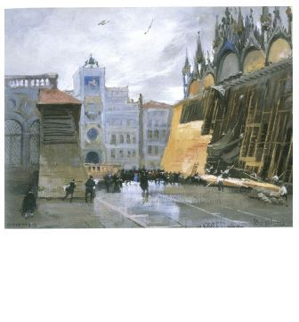 Italico Brass, San Marco in guerra, ottobre 1916, olio su tavola, ottobre 1916, Firenze, galleria Lapiccirella