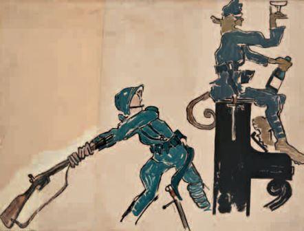 La strategia e la tattica spiegate al popolo, 1918, tempera su carta, 53x70. Tavolo per Il Montello, n. 1, 20 settembre 1918, Milano, Collezione privata
