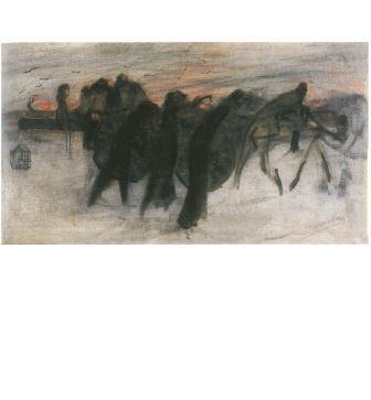 Lorenzo Viani, La ritirata, 1917-18 ca., olio e carboncino su tela, cm 55x98,5. Collezione privata- Courtesy Galleria Goldoni, Livorno