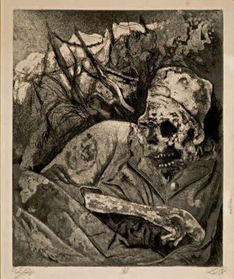 Otto Dix, Cadavere sul filo spinato, Fiandre, 1924, acquaforte, 30x24,3, Milano, Collezione privata
