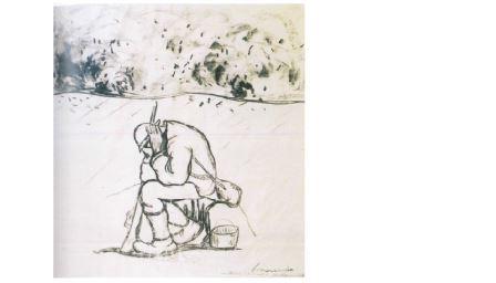 Pietro Morando, San Michele, giornata di bombardamento, matita e carboncino, cm 59x55. Rovereto, Collezioni Museo di Guerra