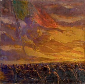 Plinio Nomellini, Allegoria della Vittoria sull'esercito in marcia, 1918 c.a, olio su tela, 51x51, Milano, Collezione privata