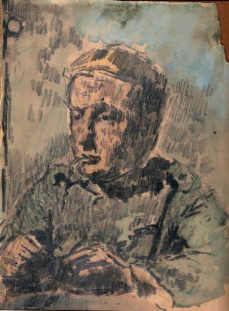 Ritratto di soldato, 1915 c.a, matita e tempera su carta, 31,5x22, Milano, collezione privata