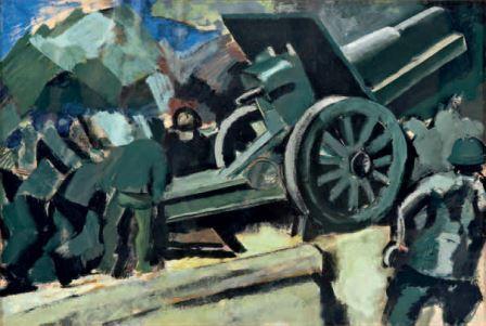 Scena di guerra, 1918 circa, tempera su carta, 32x48, Milano, Collezione privata