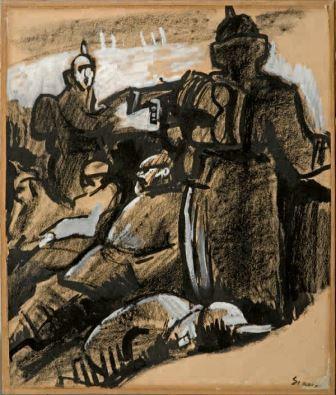 Soldati, 1916, tempera e carboncino su carta, 42x35, Milano, Collezione privata