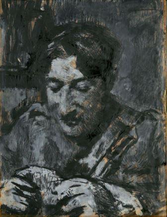 Soldato che gioca a carte, 1917-1918, matita e tempera su carta, 34x26, Milano, Collezione privata