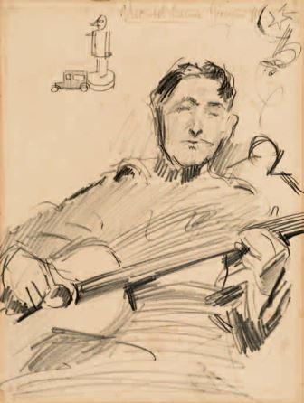 Soldato che suona la chitarra, 1918, matita su carta, 34,5x26, Milano, Collezione privata