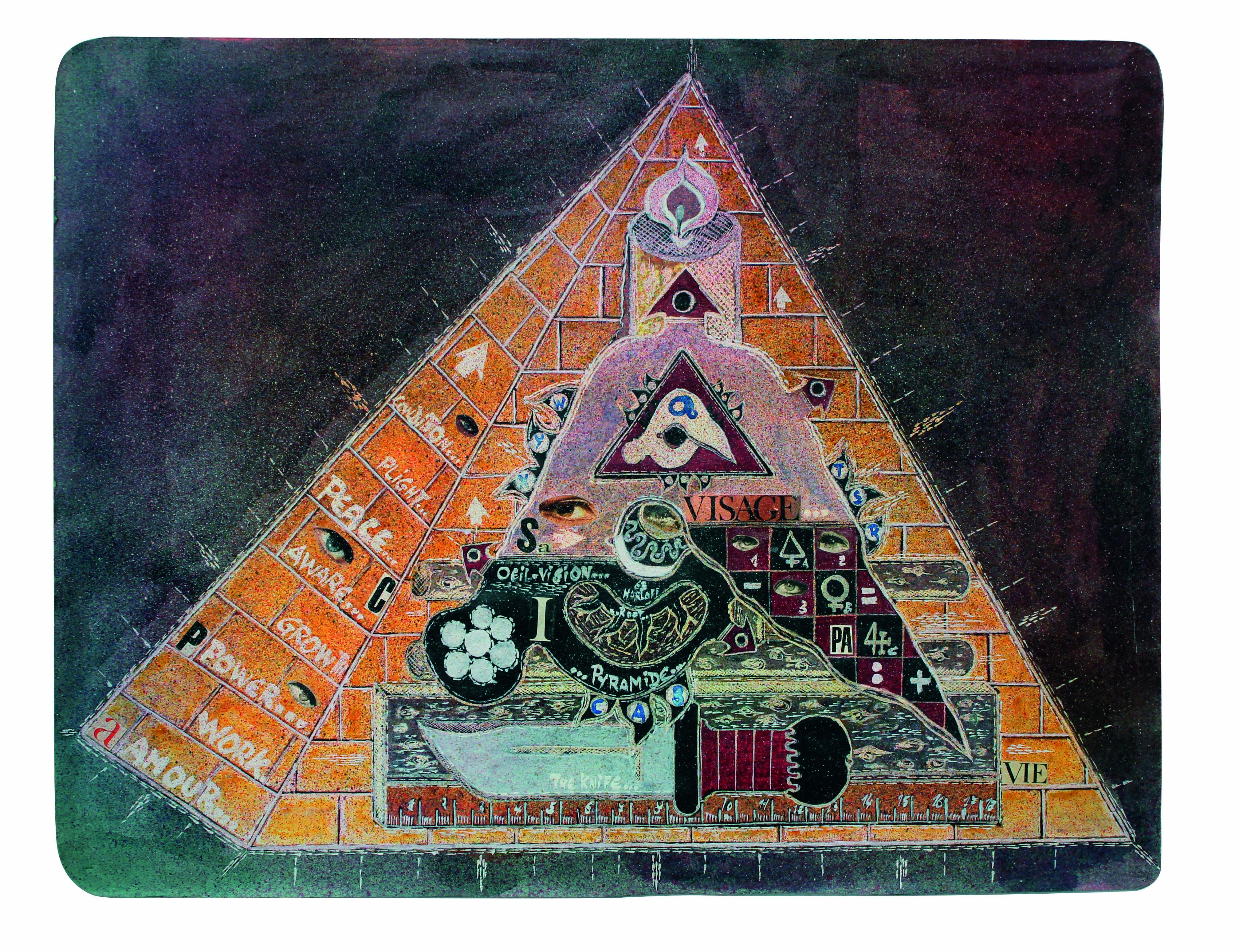 La grande pyramide, 1963, collage e inchiostri su carta, cm 48,3x63