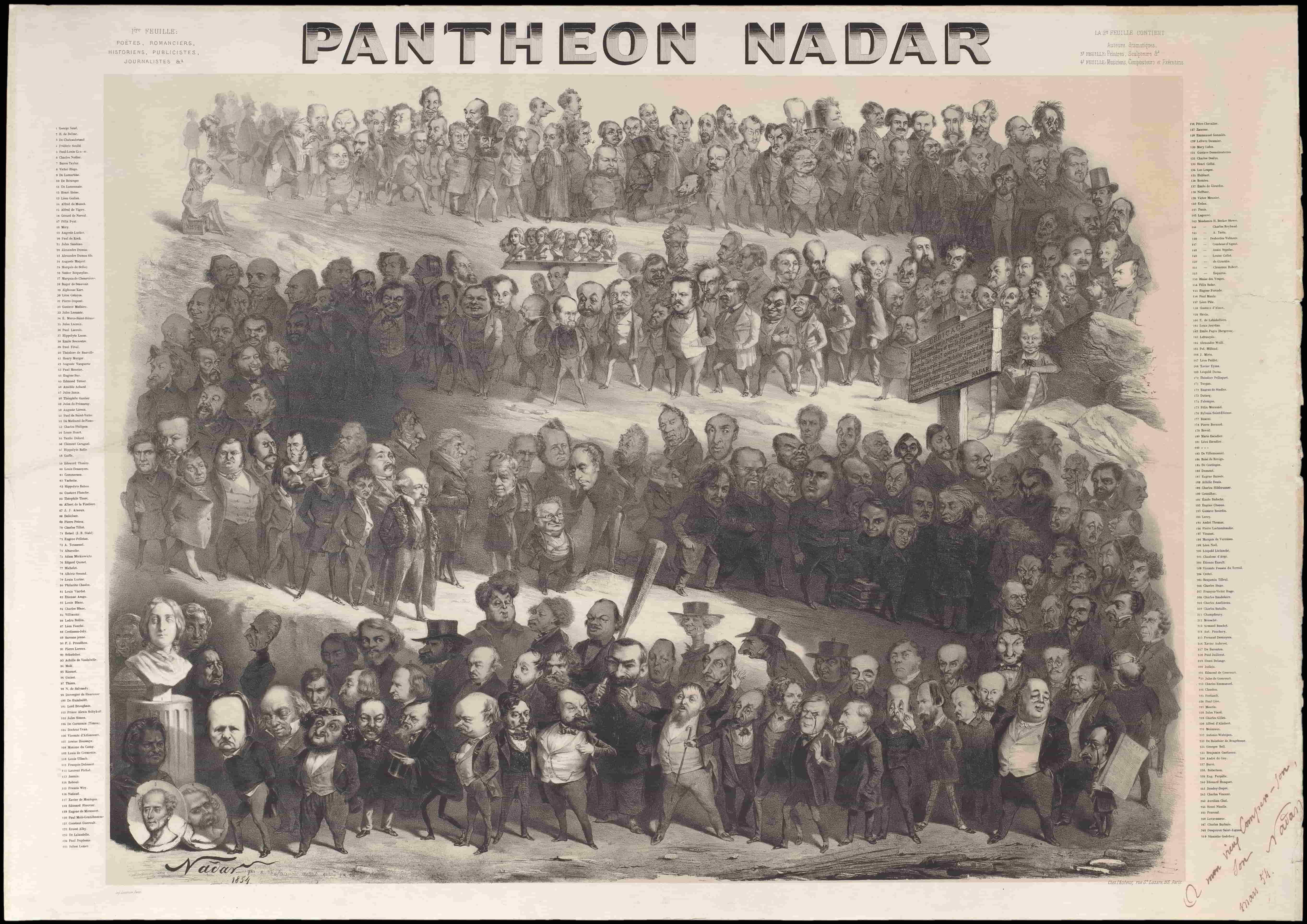 Panthéon Nadar - Litografia di Nadar del suo Progetto dei Grandi- Mostra CMC
